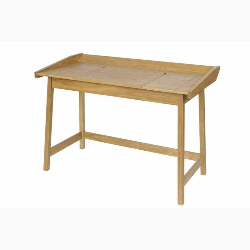 Baron kirjoituspöytä, lev.114, syv.61 ja kork. 80 cm, 3 lokerikkoa, tammiviilutetut tasot, jalusta tammea, Woodman.
