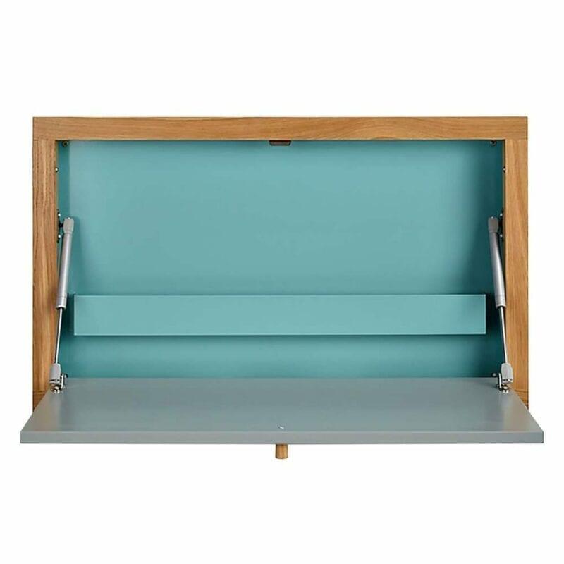 Brenta työpöytä, seinään kiinnitettävä kirjoitustaso, lev.74, syv.8 ja kork.44 cm, vihreä/tammi, Woodman.