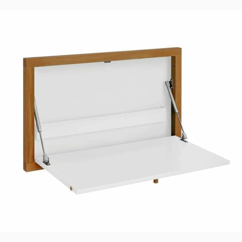 Brenta työpöytä, seinään kiinnitettävä kirjoitustaso, lev.74, syv.8 ja kork.44 cm, valkoinen/tammi, Woodman.