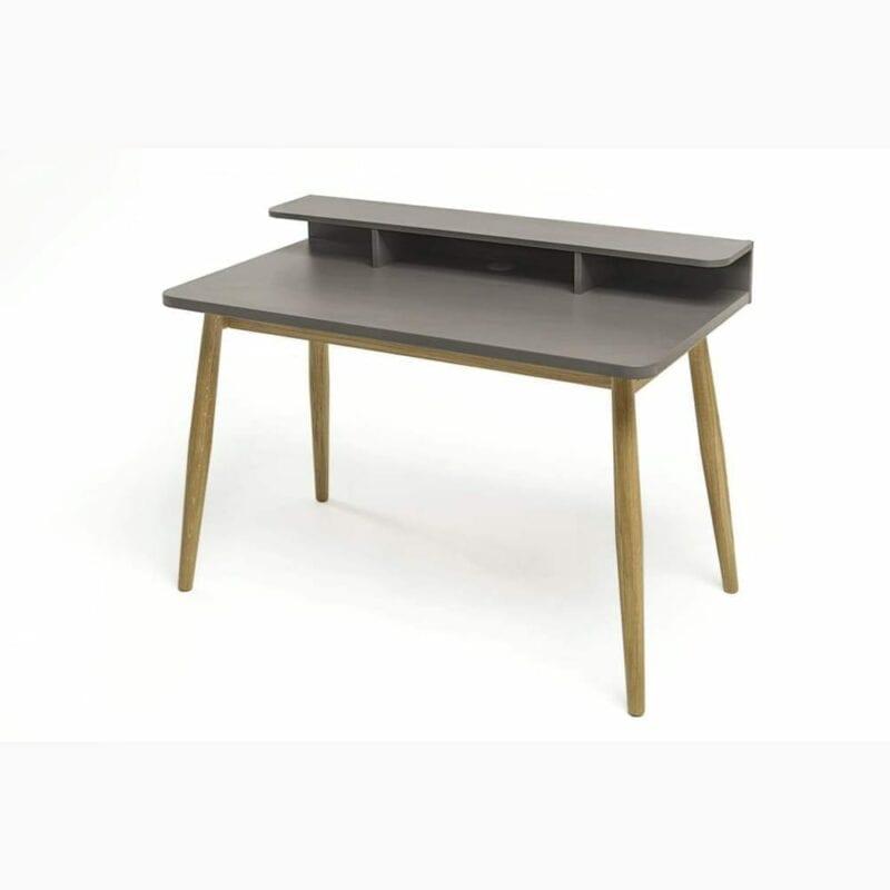 Farsta kirjoituspöytä, lev.120,syv.55 ja kork.85 cm, harmaa taso, jalat tammea, Woodman.