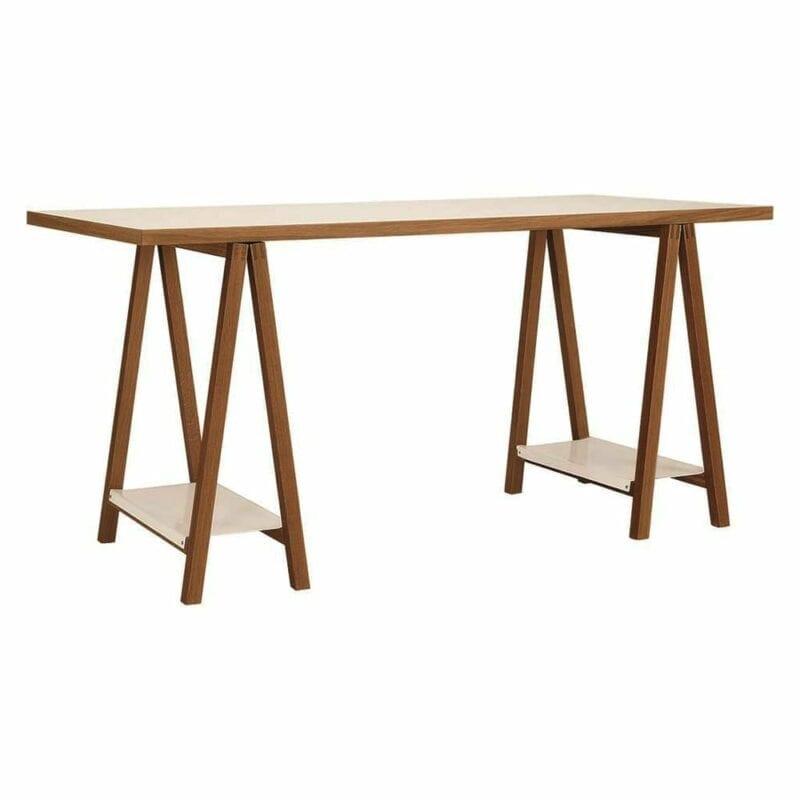 Highbury Trestle kirjoituspöytä, lev.160, syv.75 ja kork. 77 cm, tammiviilutettu taso, jalat tammea, Woodman.