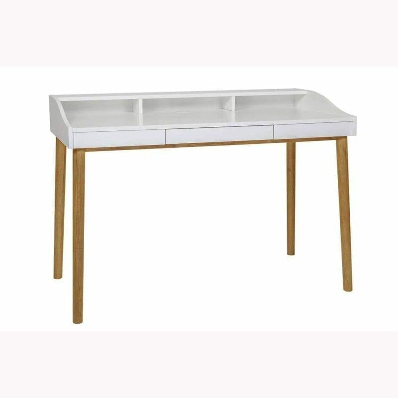 Lindenhof kirjoituspöytä, lev.120, syv.60 ja kork.84 cm, runko valkoinen, jalat tammea, 1 vetolaatikko, Woodman.