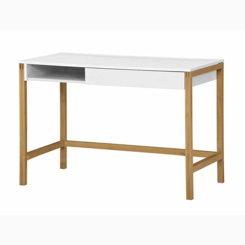 Northgate kirjoituspöytä, lev.112, svy.60 ja kork.76 cm, runko valkoinen, jalusta tammea, Woodman.