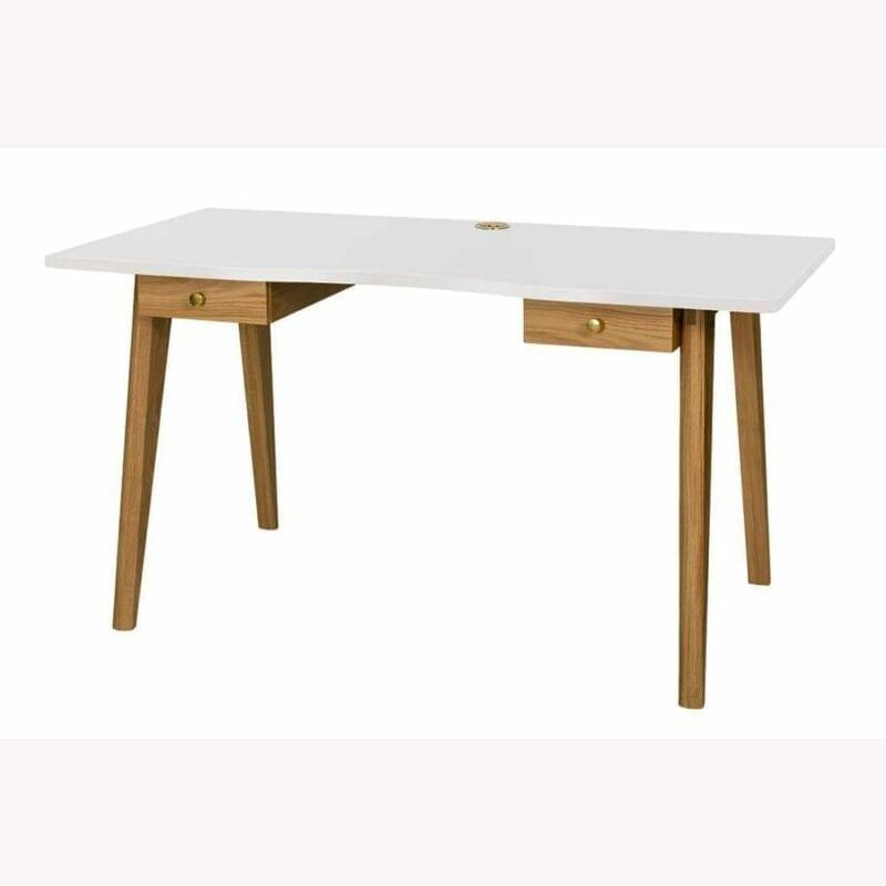 Nice kirjoituspöytä, lev.140, syv. 70 ja kork. 75 cm, valkoinen taso/jalat tammea, 2 vetolaatikkoa, Woodman.