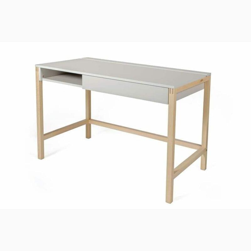 Northgate kirjoituspöytä, lev.112, svy.60 ja kork.76 cm, runko harmaa, jalusta tammea, Woodman.