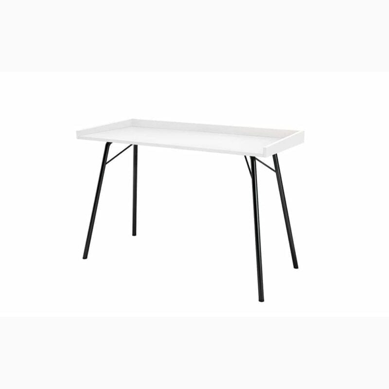 Rayburn kirjoituspöytä, lev.115, syv.52 ja kork. 78 cm, taso valkoista melamiinia, mustat metallijalat, Woodman.