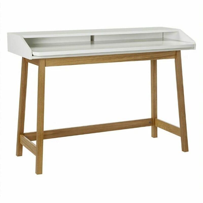 St.James kirjoituspöytä, lev. 117, syv. 47 ja kork. 84 cm, tammi/valkoinen, Woodman.
