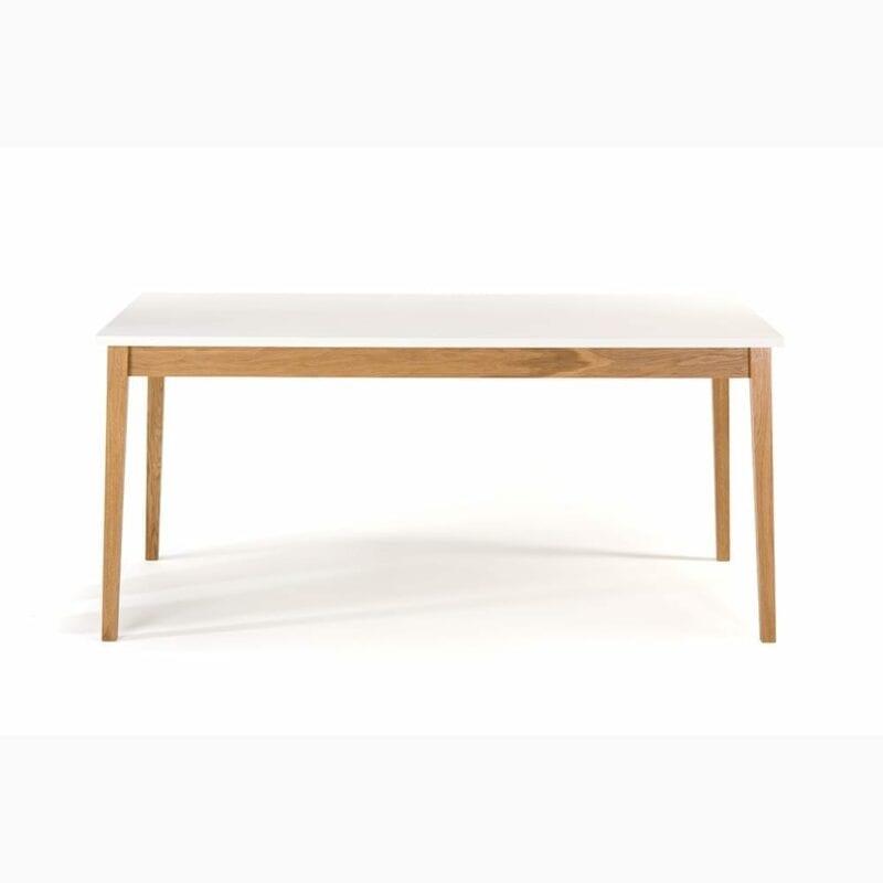 Blanco ruokapöytä, 165x90xk.76 cm, valkoinen/tammijalat, Woodman.