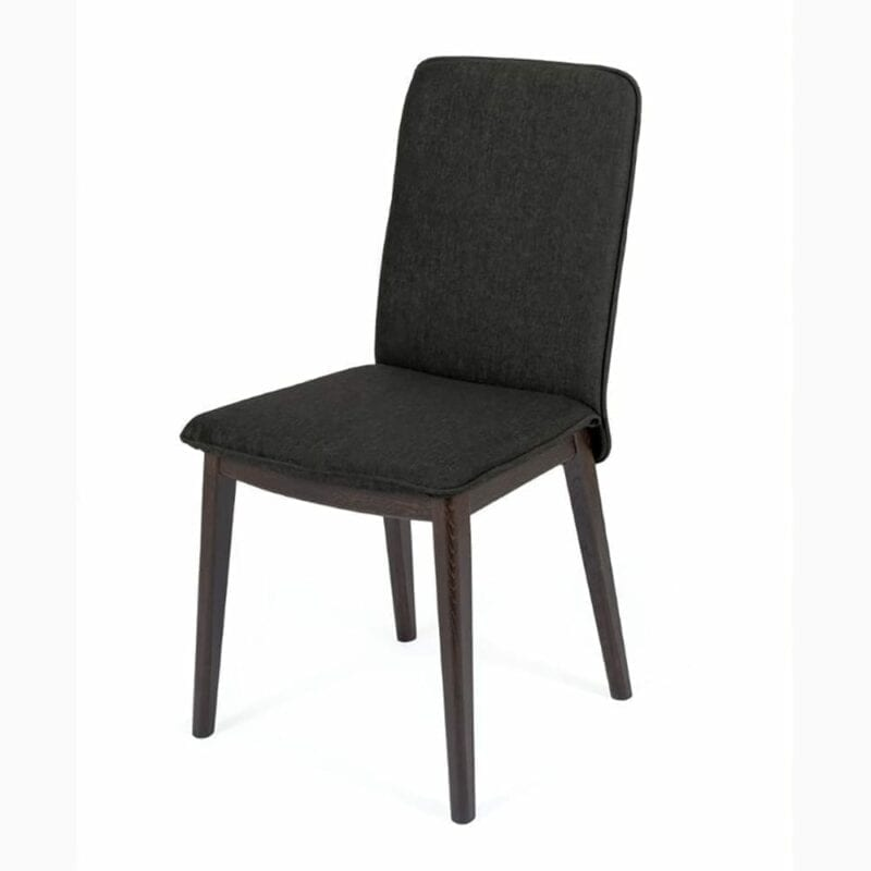 Adra tuoli, harmaa kangas/tammijalat+ruskea petsi, Woodman.