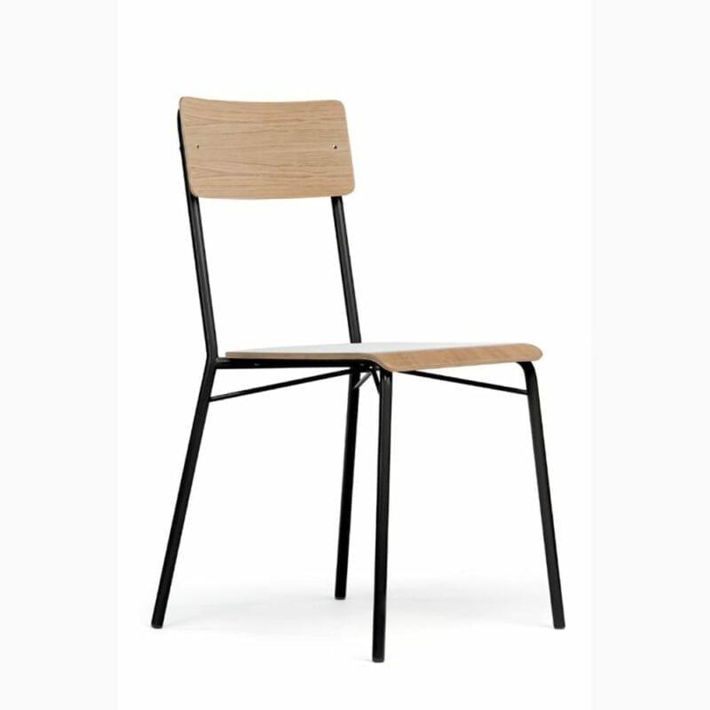 Ashburn tuoli, istuin ja selkäosa tammiviilutettu, mustat metallijalat, Woodman.