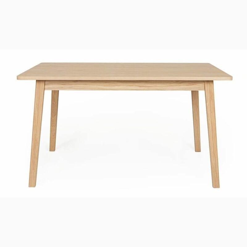 Skagen ruokapöytä, pit.140, lev.90 ja kork. 75 cm, taso tammiviilutettu, jalat tammea, Woodman.
