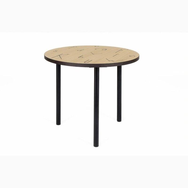 Arty 50 Letter sivupöytä, halk. 50 ja kork. 45 cm, tammi/metallijalat, Woodman, happyhomestore.fi
