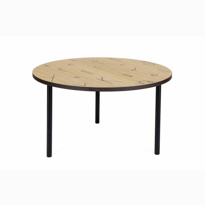 Arty Letter 70 sohvapöytä, lev. 70cm ja kork. 40 cm, tammi/metallijalat, Woodman, happyhomestore.fi