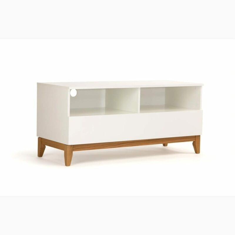 Blanco TV-taso, tammi/valkoinen, lev. 120, syv. 48 ja kork. 55 cm, Woodman, happyhomestore.fi
