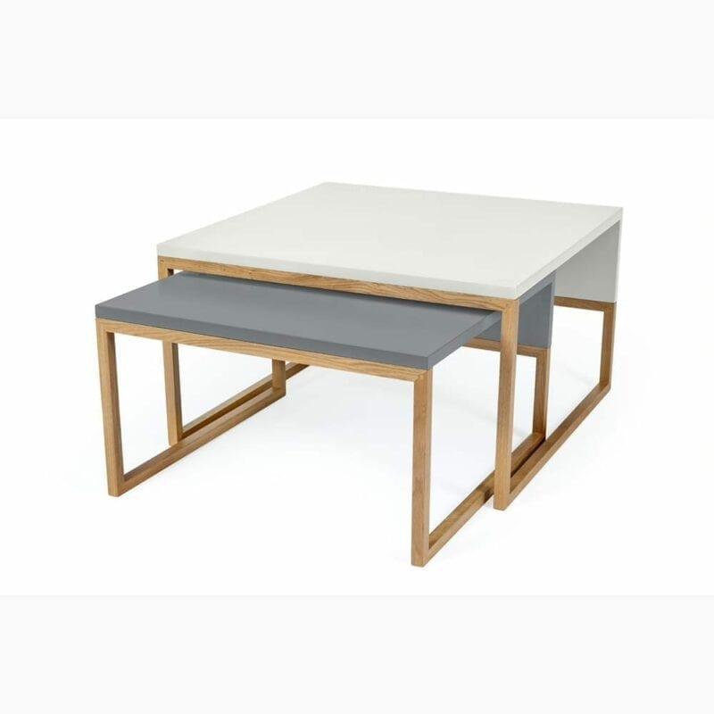 Cubis sohvapöytä, maalattu taso/tammijalusta, lev.60, syv. 50 cm ja kork. 34 cm, Woodman, happyhomestore.fi