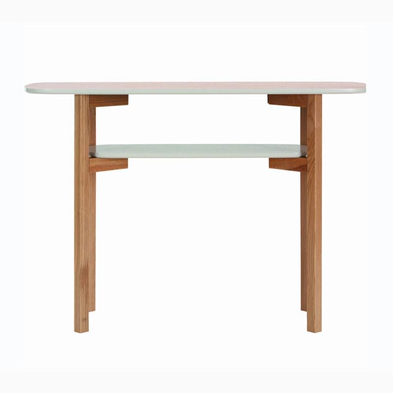 Cee Console pöytä, 110x40x5.75 cm, taso tammiviilutettu, jalat tammea,Woodman.