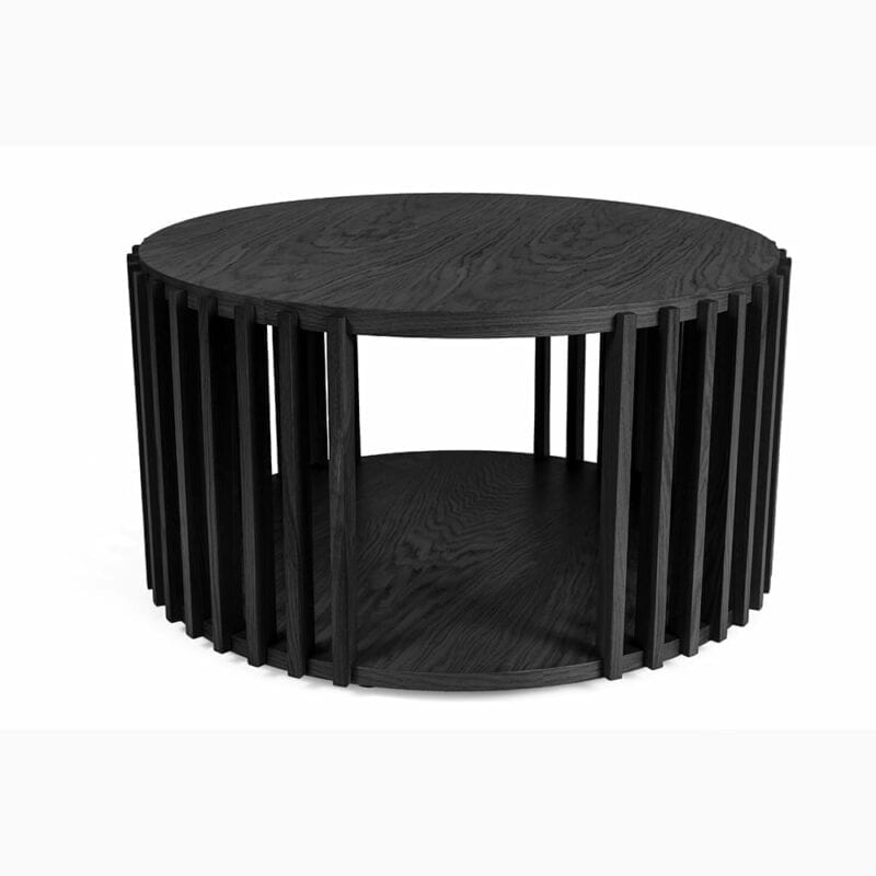 Drum sohvapöytä, halk. 83 ja kork. 42 cm, tammea + musta petsi, Woodman.