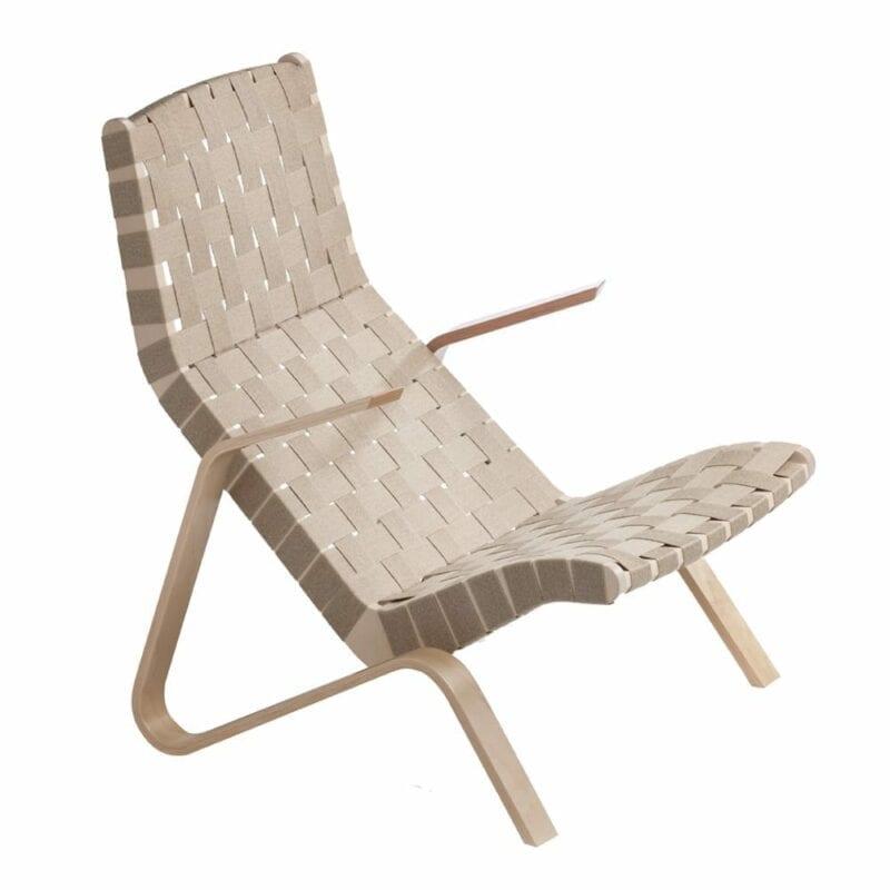 Grasshopper nojatuoli, käsinojat koivua, lv. satulavyöpunonta. Original Eero Saarinen design.
