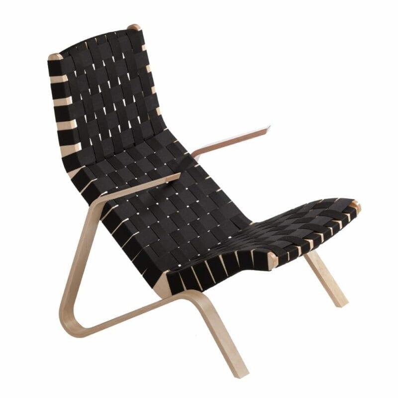 Grasshopper nojatuoli, käsinojat koivua, musta satulavyöpunonta. Original Eero Saarinen design.