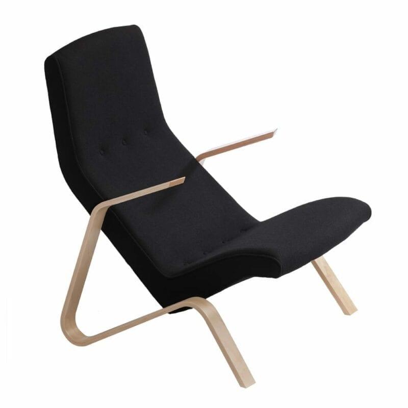 Grasshopper nojatuoli, käsinojat koivua, musta villakangas, Eero Saarinen design.