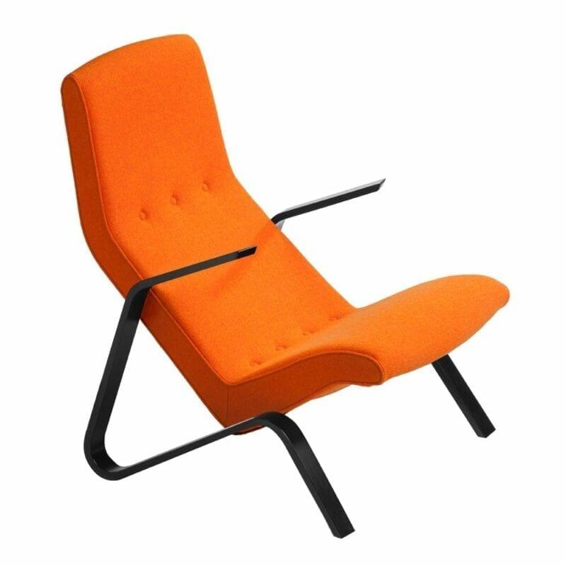 Grasshopper nojatuoli, mustat käsinojat, oranssi Hallingdal villakangas, Eero Saarinen design.