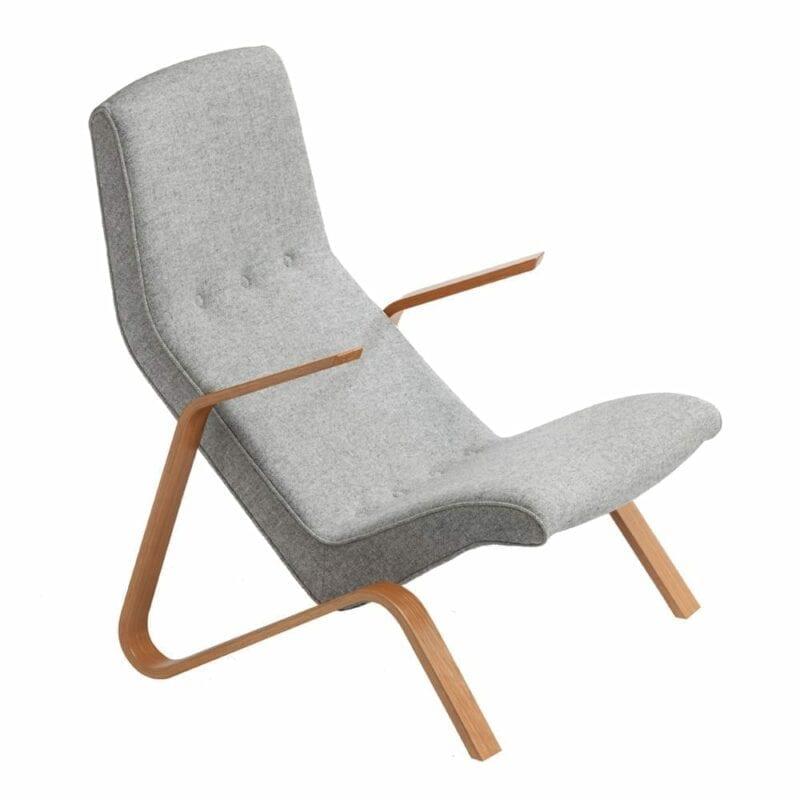 Grasshopper nojatuoli, käsinojat tammea, harmaa villakangas Kvadrat Hallingdal, Original Eero Saarinen design.