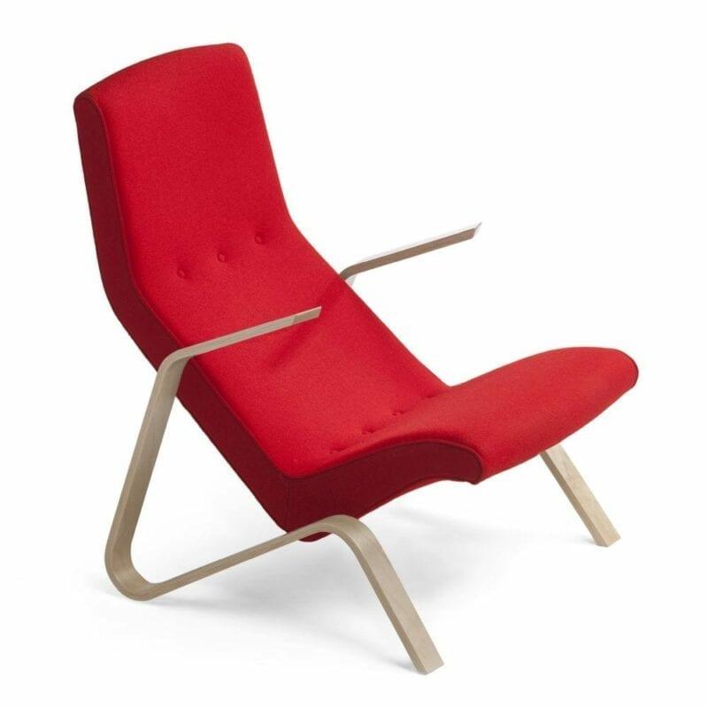Grasshopper nojatuoli, käsinojat koivua, punainen villakangas, Original Eero Saarinen design.