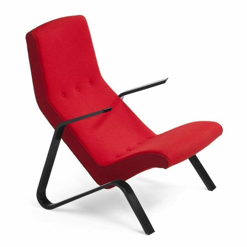 Grasshopper nojatuoli, käsinojat mustaksi petsattua koivua, punainen villakangas Kvadrat Hallingdal. Original Eero Saarinen design.