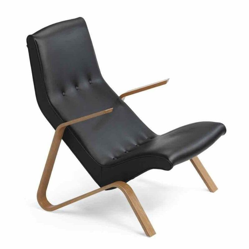 Grasshopper nojatuoli. Tammi/musta nahka. Original Eero Saarinen design.